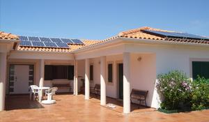 Bom Sucesso front view courtyard solar panels