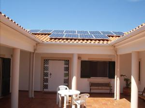 Bom Sucesso front view courtyard photovoltaic solar panels